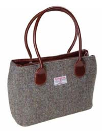 Harris Tweed classic bag brown/purple herringbone