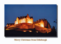 Edinburgh Castle (lit up at night) Christmas Card