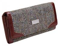 Harris Tweed long wallet purse brown/purple herringbone