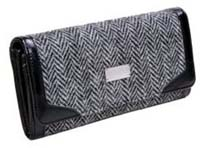 Harris Tweed long wallet purse grey herringbone