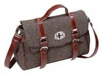 Harris Tweed satchel bag brown/purple herringbone