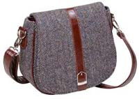 Harris Tweed shoulder bag brown/purple herringbone