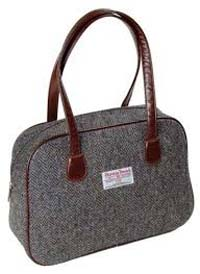 Harris Tweed square bag brown/purple herringbone