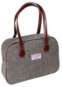 Harris Tweed square bag grey herringbone
