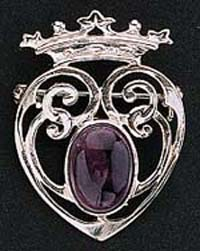 Sterling Silver Amethyst Design Brooch