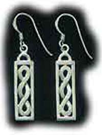 Sterling Silver Rectangle Celtic Design Earrings