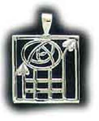 Sterling Silver Square Mackintosh Inspired Pendant