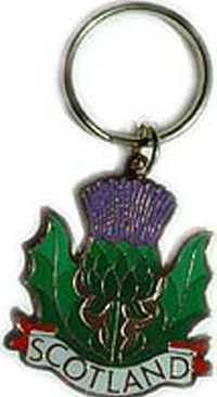 Thistle Metal Keyring