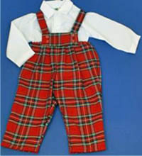 Boys Tartan Dungaree with white shirt