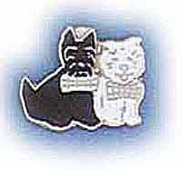 Scottie/Westie Metal Lapel Badge