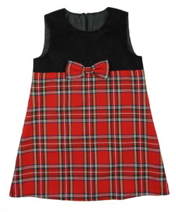 Tartan and Cord Pinafore dress