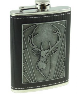 8oz Hip Flask with Embossed Stag Design