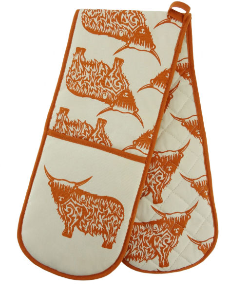 Cow Repeat Double Oven Glove