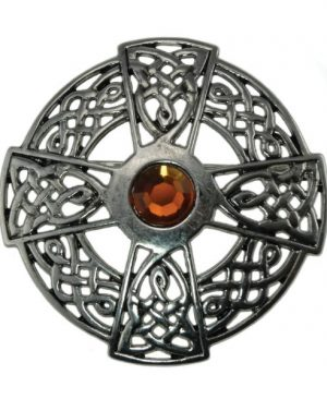 Round Brooch with Celtic Cross & Centre Stone