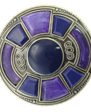 Round Brooch with Purple Stone Setting