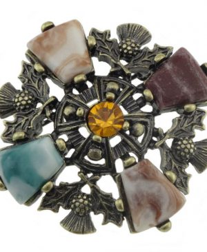 Vintage Style Brooch with Thistles & Stones