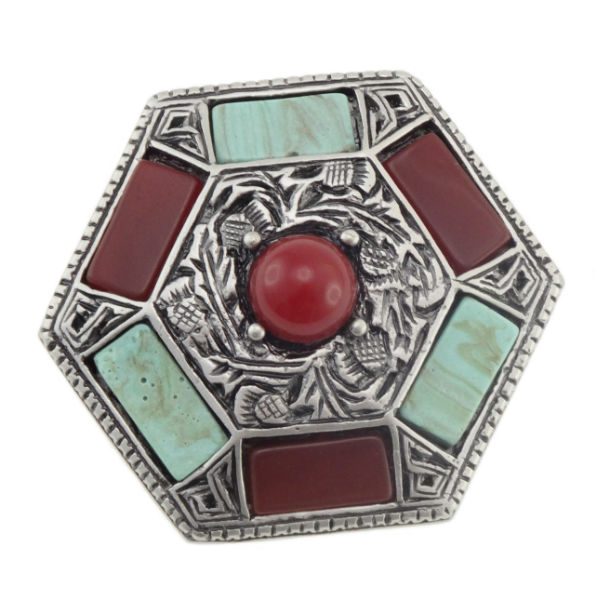 Vintage Style Hexagonal Brooch with Stones