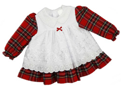 Tartan Dress with White Broderie Anglaise Smock